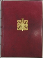 Lot 134:The Royal Philatelic Collection: by Sir John Wilson (1952), the deluxe edition in red Morocco leather with slipcase. Outstanding reference of the greatest collection ever formed with 64 black & white plates and 12 colour plates. Very fine condition.