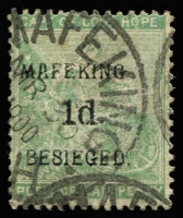 Lot 1517:1900 Surcharges 1d 'MAFEKING/BESIEGED' on ½d green Seated Hope SG #1, fine used, Cat £85.