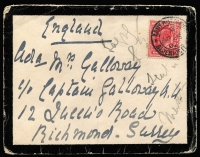 "Lot 1532 [2 of 4]:1900-02 Boer War Covers to UK comprising 1900 (Oct) endorsed ""S African Field Force"" with QV 1d lilac tied Army PO datestamp in blue; 1901 (Aug 14) with fine Rosmead '14 AU/01' datestamp, 1d lilac tied by APO Capetown datestamp; also three 1902 mourning covers each with 1d KEVII tied by APO Bloemfontein datestamps, addressed c/o Boer War veteran Captain Christian Galloway; plus two other items; condition variable (one cover torn). (7)"