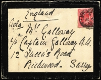 "Lot 1532 [3 of 4]:1900-02 Boer War Covers to UK comprising 1900 (Oct) endorsed ""S African Field Force"" with QV 1d lilac tied Army PO datestamp in blue; 1901 (Aug 14) with fine Rosmead '14 AU/01' datestamp, 1d lilac tied by APO Capetown datestamp; also three 1902 mourning covers each with 1d KEVII tied by APO Bloemfontein datestamps, addressed c/o Boer War veteran Captain Christian Galloway; plus two other items; condition variable (one cover torn). (7)"