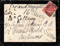 "Lot 1532 [1 of 4]:1900-02 Boer War Covers to UK comprising 1900 (Oct) endorsed ""S African Field Force"" with QV 1d lilac tied Army PO datestamp in blue; 1901 (Aug 14) with fine Rosmead '14 AU/01' datestamp, 1d lilac tied by APO Capetown datestamp; also three 1902 mourning covers each with 1d KEVII tied by APO Bloemfontein datestamps, addressed c/o Boer War veteran Captain Christian Galloway; plus two other items; condition variable (one cover torn). (7)"