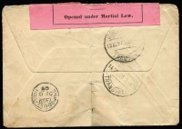 Lot 1531 [2 of 2]:1900 Boer War (Nov 13) cover to UK with GB QV 2½d tied by FPO 17/British Army S. Africa datestamp, with another very fine (next day) strike below, 'T' handstamp scored through, OHMS black/pink 'Opened under Martial Law' label tied by oval Johannesburg rubber datestamp, Swindon Station arrival backstamp, vertical fold & light soiling.