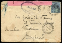 Lot 1531 [1 of 2]:1900 Boer War (Nov 13) cover to UK with GB QV 2½d tied by FPO 17/British Army S. Africa datestamp, with another very fine (next day) strike below, 'T' handstamp scored through, OHMS black/pink 'Opened under Martial Law' label tied by oval Johannesburg rubber datestamp, Swindon Station arrival backstamp, vertical fold & light soiling.