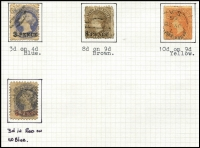 Lot 316 [2 of 3]:1855-1911 Collection with 1855 imperf 1d & 6d (both defective), few Roulettes to 1/- yellow & 1/- brown including 10d on 9d orange-red with 'JY28/66' datestamp, perforated issues including 3d (in red) on 4d P10, P&R Long Toms 2/6d to £1 (perf faults), 'POSTAGE' Long Toms to 5/-, also surcharges & officials; condition variable.