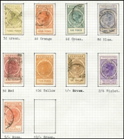 Lot 316 [3 of 3]:1855-1911 Collection with 1855 imperf 1d & 6d (both defective), few Roulettes to 1/- yellow & 1/- brown including 10d on 9d orange-red with 'JY28/66' datestamp, perforated issues including 3d (in red) on 4d P10, P&R Long Toms 2/6d to £1 (perf faults), 'POSTAGE' Long Toms to 5/-, also surcharges & officials; condition variable.