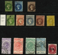 Lot 316 [1 of 3]:1855-1911 Collection with 1855 imperf 1d & 6d (both defective), few Roulettes to 1/- yellow & 1/- brown including 10d on 9d orange-red with 'JY28/66' datestamp, perforated issues including 3d (in red) on 4d P10, P&R Long Toms 2/6d to £1 (perf faults), 'POSTAGE' Long Toms to 5/-, also surcharges & officials; condition variable.