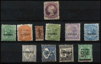 Lot 1000 [2 of 3]:Selection with optd 'REPRINT' on Crown/SA imperfs x5 (1/- yellow fault), roulettes x5 & perforated issues x7, also optd 'SPECIMEN' x10 with values to 5d & 6d, some condition issues, generally fine, most values large-part gum. (27)