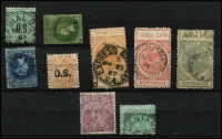 Lot 317:Selection with Squared-Circles Cantara Rated 3R and largely complete Denial Bay Rated 2R, also 1878 Stone Hut Type F1 on 6d blue Rated 2R, Tungkillo Type UF4a on 1d green Rated R, etc. (9)