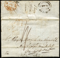 "Lot 1712:1846 (July 13) pre-stamp entire to Glasgow rated ""1/-"" with 'ST KITTS/JY13/1846' double-arc departure datestamp, London transit datestamp in red, boxed Glasgow arrival datestamp, small defects."