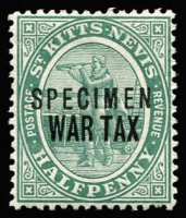 Lot 1511 [2 of 2]:1916-18 Columbus ½d optd 'WAR TAX' & 1½d opt 'WAR STAMP', each stamp with 'SPECIMEN' overprint SG #22s,23s, fine mint, Cat £105. (2)