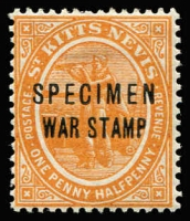 Lot 1511 [1 of 2]:1916-18 Columbus ½d optd 'WAR TAX' & 1½d opt 'WAR STAMP', each stamp with 'SPECIMEN' overprint SG #22s,23s, fine mint, Cat £105. (2)