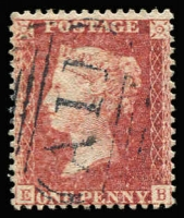 Lot 1396:1858-60 Issues 1d rose-red with largely complete strike of 'A11' cancel SG #Z1, fine used, Cat £1,300.