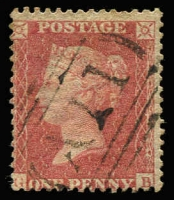 Lot 1501:1858-60 Issues 1d rose-red with largely complete fine strike of 'A11' cancel SG #Z1, fine used, Cat £1,300. RPSL Certificate (1980).
