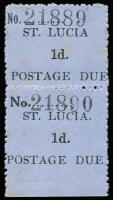 Lot 1521:1930 Postage Dues 1d black/blue on Horizontally laid paper vertical marginal pair, upper unit variety Missing stop after 'LUCIA', SG #D1d, few mild age spots, unused, Cat £285+.