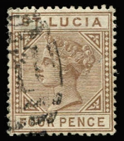 Lot 1503:1883-86 QV Die I Wmk Crown CA 4d brown variety Top left triangle detached SG #34a, fine used, Cat £140.