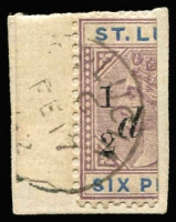 Lot 1504:1891-92 QV Surcharges ½d on half 6d dull mauve & blue variety No fraction bar SG #54a, fine used, tied to small piece, Cat £130.