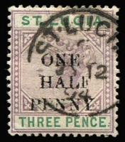 Lot 1505:1891-92 QV Surcharges ½d on 3d variety 'ONE' misplaced ('O' over 'H') SG #56f, fine used, Cat £90.
