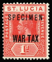 Lot 1506:1916 War Tax Overprints 1d scarlet with 'SPECIMEN' overprint SG #90s, Cat £55.