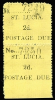 Lot 1540:1930 Postage Dues 2d black/yellow on Wove paper vertical marginal pair, lower unit variety 'No' in wrong (wide) font SG #D2b, fine unused.