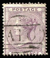 Lot 1876:1856-60 Issues Wmk Emblems 6d lilac with fine strike of 'A10' cancel SG #Z4, fine used, Cat £325.
