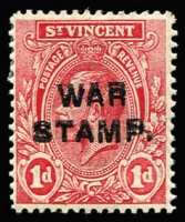Lot 1507:1916 War Stamp Overprints 1st Setting Overprint on KGV 1d, variety Overprint double SG #122a, fine mint, Cat £180.
