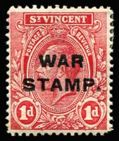 Lot 1508 [2 of 2]:1916 War Stamp Overprints Third Setting (1½mm) on KGV 1d SG #123, fine mint, with normal stamp for comparison, Cat £120.