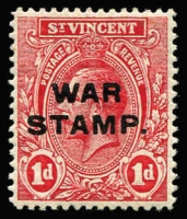 Lot 1508 [1 of 2]:1916 War Stamp Overprints Third Setting (1½mm) on KGV 1d SG #123, fine mint, with normal stamp for comparison, Cat £120.