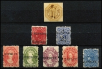 Lot 1036 [2 of 3]:Selection with Reprints x9 including 1889 1d & 4d Couriers with defacing bars, also perforated 1d, 2d, 6d & 1/- Chalons and 4d blue Sideface; 'SPECIMEN' Overprints x10 with Sideface values to 10d black; odd blemish, most values with gum. (19)