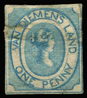 Lot 1037:1853 Imperf Courier Medium Soft Yellowish Paper 1d blue SG #2, significant fault at upper left & small nick & associated thin at base, unused. Presentable spacefiller, Cat £12,000 (when fine).