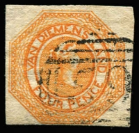 Lot 1041:1853 Imperf Courier Plate II 4d orange SG #10, complete margins (close at base), tidy BN '59' cancel, Cat £425.