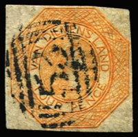 Lot 1043:1853 Imperf Courier Plate II 4d dull orange forgery, bogus BN '53' cancel.