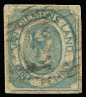 Lot 1038:1853 Imperf Courier Thin Hard White Paper 1d pale blue SG #3, small corner defects and tiny tear at centre base, complete margins, Cat £1,500.