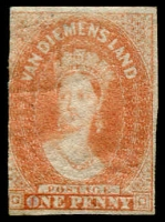 Lot 3355:1857-67 Imperf Chalon Wmk Double-Lined Numeral 1d dull vermilion SG #28, Wmk inverted, three complete margins, just shaved at left, part og, Cat £375.