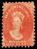 Lot 3361:1863-71 Chalon Wmk Double-Lined Numeral Perf 10 1d dull vermilion SG #58, vibrant colour, mint large-part gum, Cat £190.