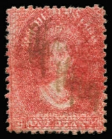 Lot 1073:1863-71 Chalon Wmk Double-Lined Numeral Walsh & Sons Perf 12 1d carmine SG #70, Doubly printed with strong second impression shifted 1mm to right & ¾mm upwards, fiscally used. Impressive example.