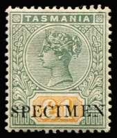 Lot 781:1892-99 Tablets Wmk TAS Perf 14 £1 green & yellow optd 'SPECIMEN' SG #225s, hinge remnant, fine mint.
