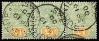 Lot 847:1892-99 Tablets Wmk TAS Perf 14 £1 green & yellow SG #225 horizontal strip of 3, cancelled with 'BURNIE/SP19/00' datestamp, insignificant crease only visible on reverse, Cat £1,500+.