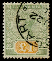 Lot 780:1892-99 Tablets Wmk TAS Perf 14 £1 green & yellow SG #225, mild aging patch on reverse, Hobart datestamp, fine overall, Cat £500.