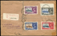 Lot 1541 [1 of 2]:1935 Silver Jubilee 2c to 24c set on (Dec 19) registered cover to UK, the 2d being a marginal example with variety Flagstaff on right-hand turret, SG #239d, unpriced used/on cover. Very scarce.