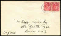 Lot 2338 [2 of 3]:1920s-49 Cachets on Cover to UK comprising [1] Cachet III SG #C3 tying KEVII 1d pair to undated cover (early 1920s); [2] Cachet VI SG #C8 tying KGVI 1½d brown addressed to Stanley Gibbons, acknowledgement of receipt on reverse dated '24MAR1939'; [3] boxed Cachet IX SG #C11 tying 2d KGV Control 'S21', additionally tied by 1948 Cape Town paquebot datestamp; Cat £400+. (3)
