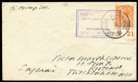 Lot 1932 [1 of 3]:1920s-49 Cachets on Cover to UK comprising [1] Cachet III SG #C3 tying KEVII 1d pair to undated cover (early 1920s); [2] Cachet VI SG #C8 tying KGVI 1½d brown addressed to Stanley Gibbons, acknowledgement of receipt on reverse dated '24MAR1939'; [3] boxed Cachet IX SG #C11 tying 2d KGV Control 'S21', additionally tied by 1948 Cape Town paquebot datestamp; Cat £400+. (3)