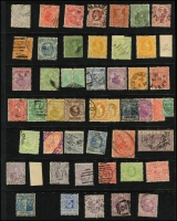 Lot 327 [2 of 3]:Assortment On Hagners with imperf 1/- Octagonal x2, 1d QOT, 6d Woodblock, perforated 1/- Octagonal x2, 1878 Coloured Papers group, 1901-13 1d mint multiples & perf 'OS' to 5/- used, also postage dues to 1/-, TPO cancels, etc; mixed condition. (200+)