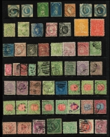 Lot 327 [1 of 3]:Assortment On Hagners with imperf 1/- Octagonal x2, 1d QOT, 6d Woodblock, perforated 1/- Octagonal x2, 1878 Coloured Papers group, 1901-13 1d mint multiples & perf 'OS' to 5/- used, also postage dues to 1/-, TPO cancels, etc; mixed condition. (200+)