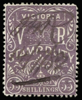 Lot 1113:Stamp Duty: 35/- purple, single blind pinhole, tidy 1882 pen cancel.