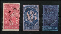 Lot 1114 [3 of 3]:Stamp Duty: 1879 Large Types £5 to £9, £6 minor perf tear, few pinholes on £5 & £6, £7 to £9 pinhole-free, above average condition for these. (5)