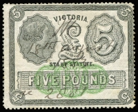 Lot 1110:Stamp Statute: £5 black & yellow-green, mild wrinkles & a couple of blind pinholes, fine overall, 1883 pen cancel, Elsmore Online Cat $750.