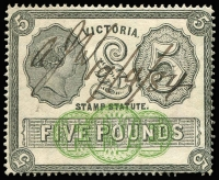 Lot 1111:Stamp Statute: £5 black & yellow-green, couple of pinholes, fine overall, 1884 pen cancel, Elsmore Online Cat $750.