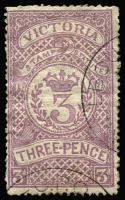 Lot 1112:Stamp Statute: 1871-84 3d mauve Stamp Statute, with bogus Melbourne GPO part datestamps, stamp has retained large-part gum, Elsmore Online Cat $750 (fiscally used).