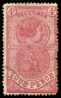 Lot 1109:Stamp Statute: 1871-84 4d rose-red, 3mm tear at lower-right, bogus corner cancel, Elsmore Online Cat $600 (fiscally used).