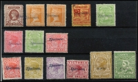 Lot 1070 [2 of 2]:1885-1900 Inscribed 'STAMP DUTY' Selection optd 'Specimen' Type 21b to 9d green x2, including obsolete Naish 1d yellow-green and 5d brown with partial handstamp only, also 1d Stamp Duty x2 optd 'Reprint'; mostly without gum. (15)